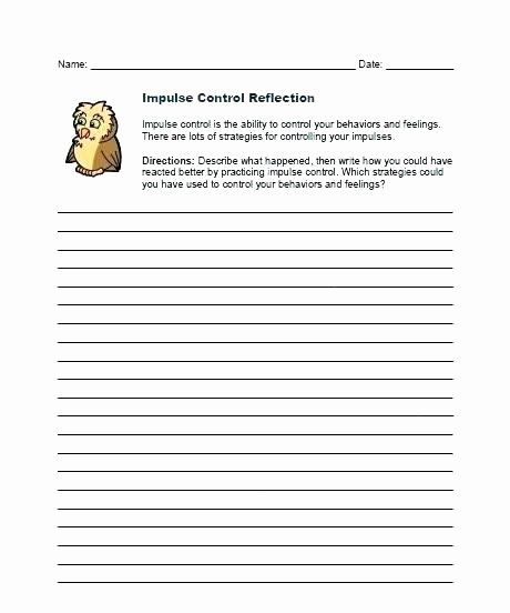 Impulse Control Worksheets Printable Impulse Control ...