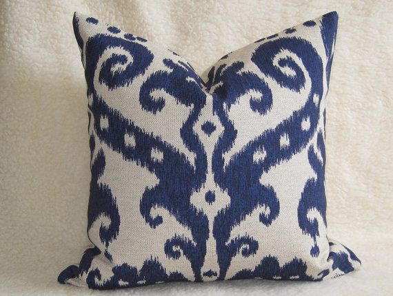 Decorative Designer Ikat Pillow  Navy Blue  16 by WillaSkyeHome, $32.00
