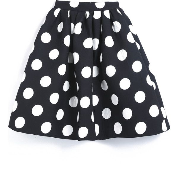 SheIn(sheinside) Black Polka Dot Flare Skirt ($23) ❤ liked on Polyvore featuring skirts, bottoms, saias, faldas, black, polka dot skater skirt, flare skirt, black circle skirt, skater skirt y short skirts