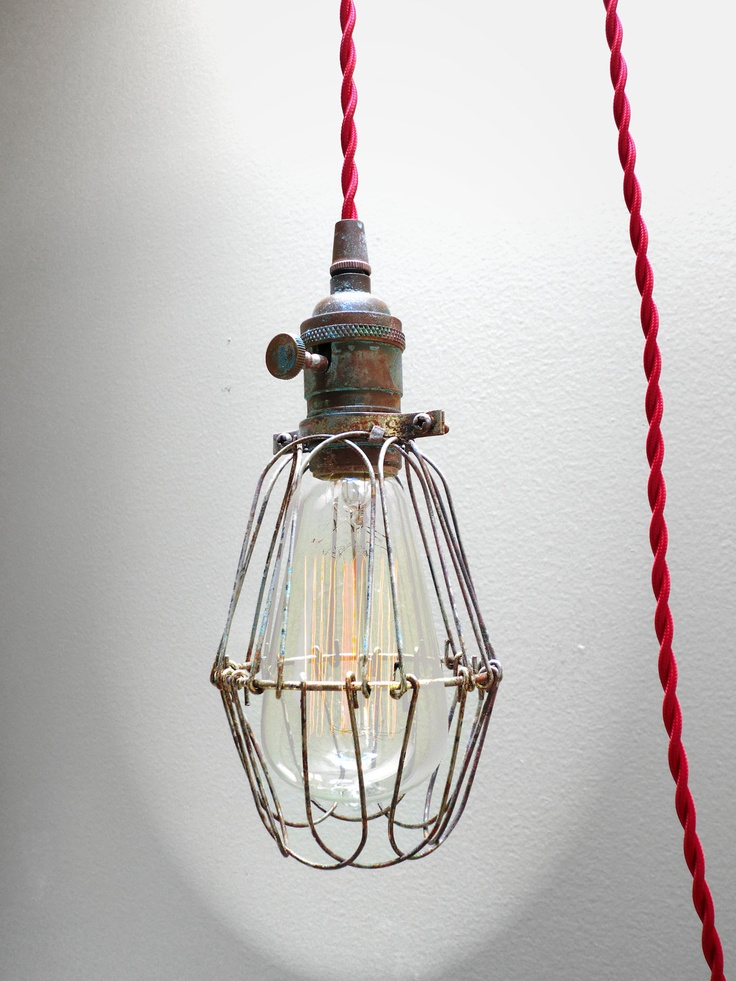 Captivating Industrial BRASS PATINA Cage Light   Edison Pendant Light Fixture, 12u0027 Red  Twisted Cord, Plug In