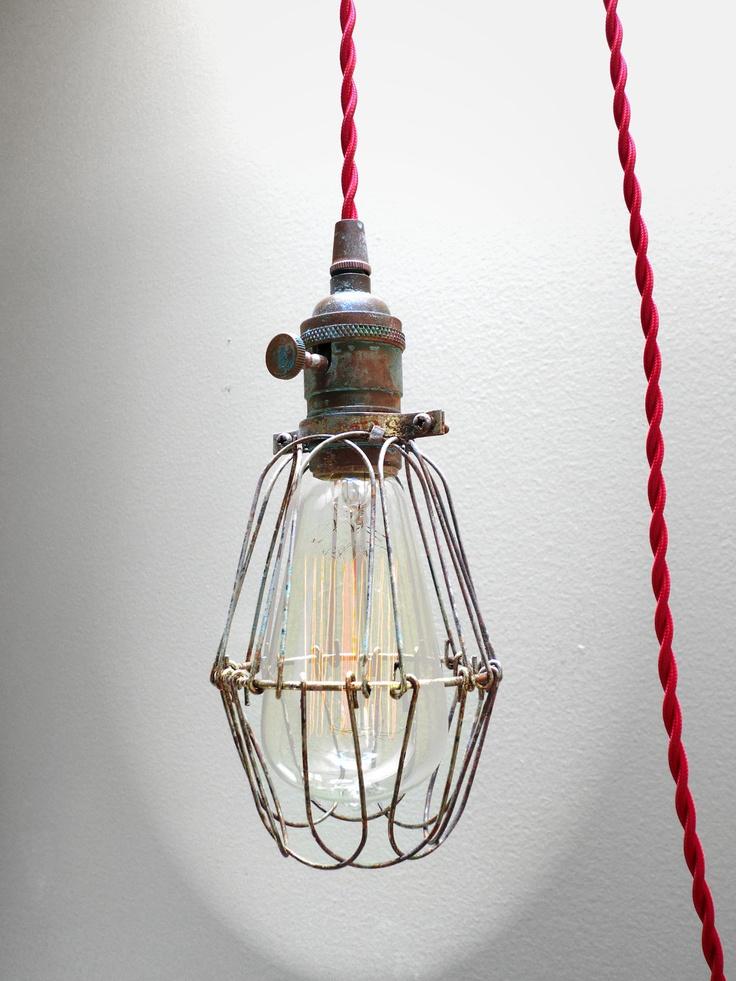 Plug In Pendant Lighting Fixtures : Industrial brass patina cage light edison pendant