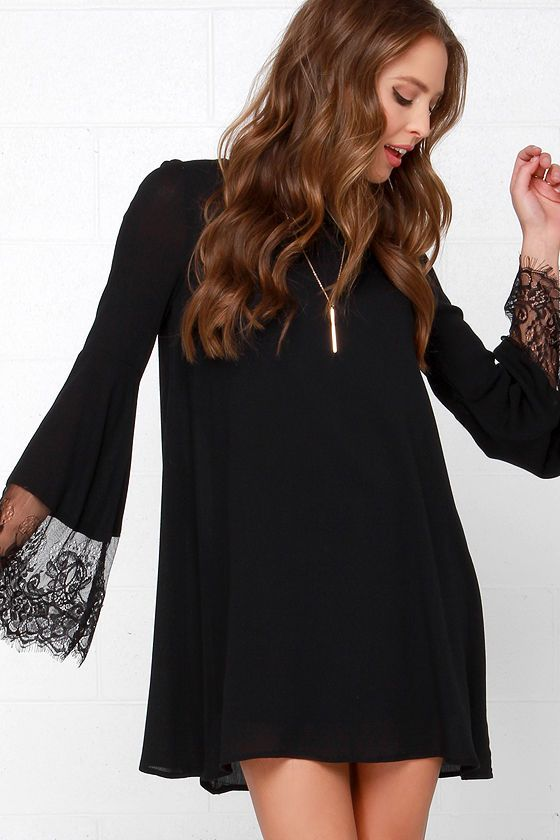 Glamorous Night Shift Black Long Sleeve Lace Dress In 2018
