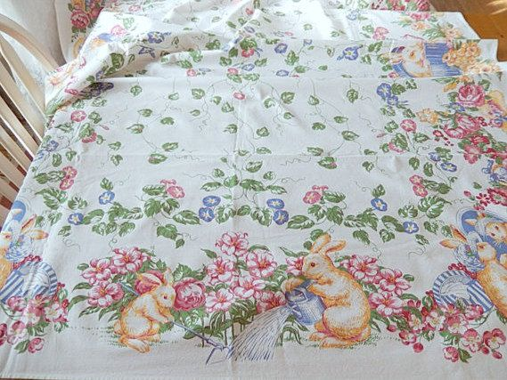 Awesome Vintage Easter Tablecloth 4 Napkins 66 X 50 Inches By Brixiana