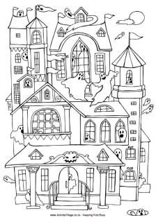 Halloween colouring page, Haunted house colouring page