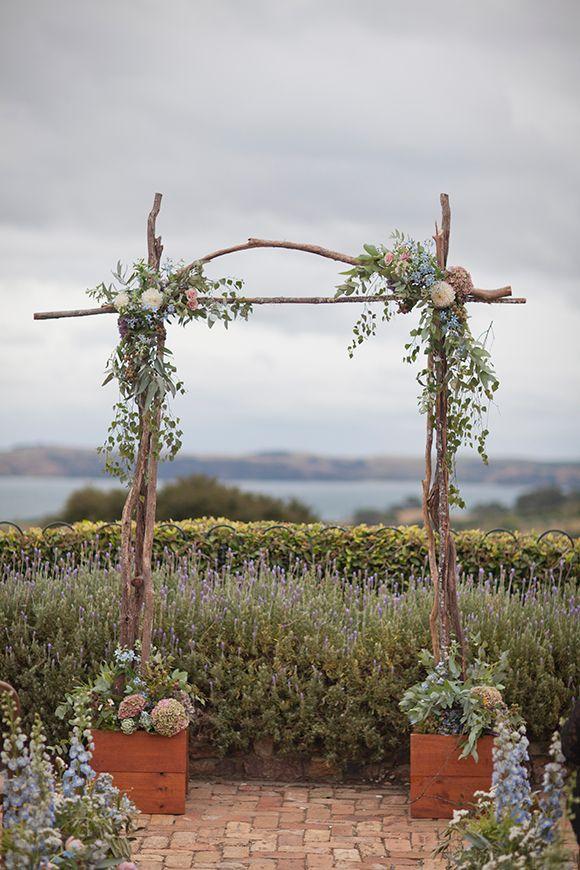 Peach and Lavender Waiheke Island Vineyard Wedding