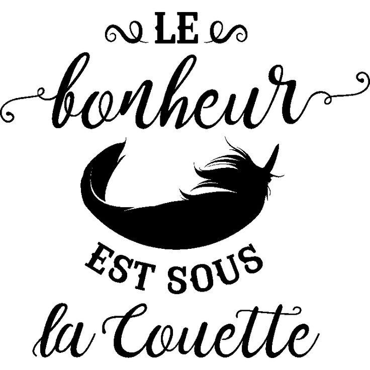 Stickers muraux citations - Sticker Le bonheur est sous la couette design - ambiance-sticker.com