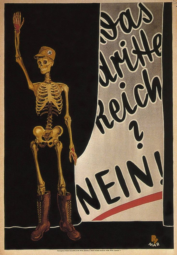 """""""The Third Reich? No!"""" German anti-Nazi poster, 1932. A copy of this was part of a large poster collection seized by Goebbels, and was recently ordered to be returned to the owner's son."""
