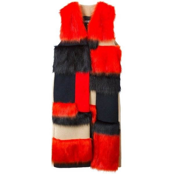 MSGM Faux Fur Sleeveless Coat ($1,010) ❤ liked on Polyvore featuring outerwear, coats, coats & jackets, multicolour, red coat, fake fur coats, red faux fur coat, colorful coat and msgm