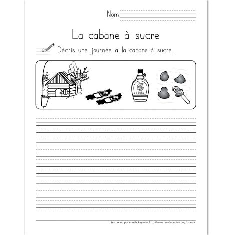 Fichier PDF téléchargeable En noir et blanc seulement 3 pages  L'élève décrit une journée à la cabane à sucre. Le document contient 3 pages: une page avec trottoirs, une page avec des lignes doubles et une page avec des lignes simples selon vos besoins.