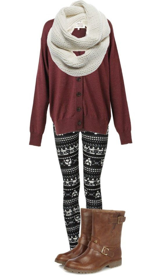 Pattern leggings are huge this winter. Pair with a solid color cardigan. With yo