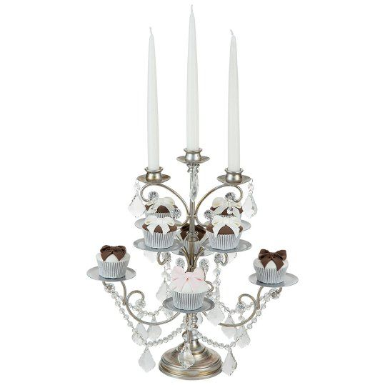 Cupcake Candelabra 8 Piece Cupcake Stand with 3 Glass Votive Candle Holders, Crystal Dangles (Silver) with taper candles  - ~ for SALE ~ #wedding #candelabra #centrepiece home #decor or #gift idea ~  www.candelabracenterpieces.info
