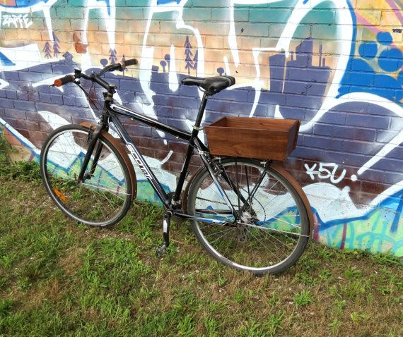 Wooden Walnut Market Bike Basket