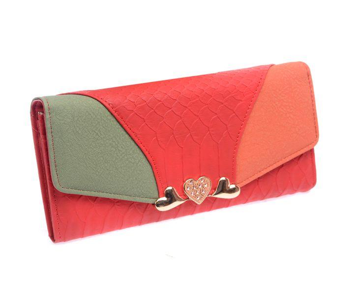 Portefeuille femme cuir tricolore rouge