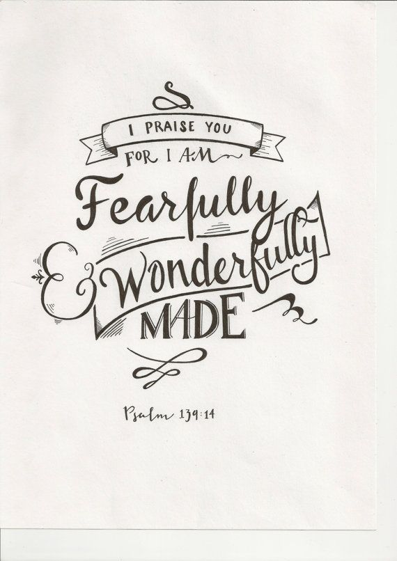 Fearfully and wonderfully made typography google search for Psalm 139 coloring page