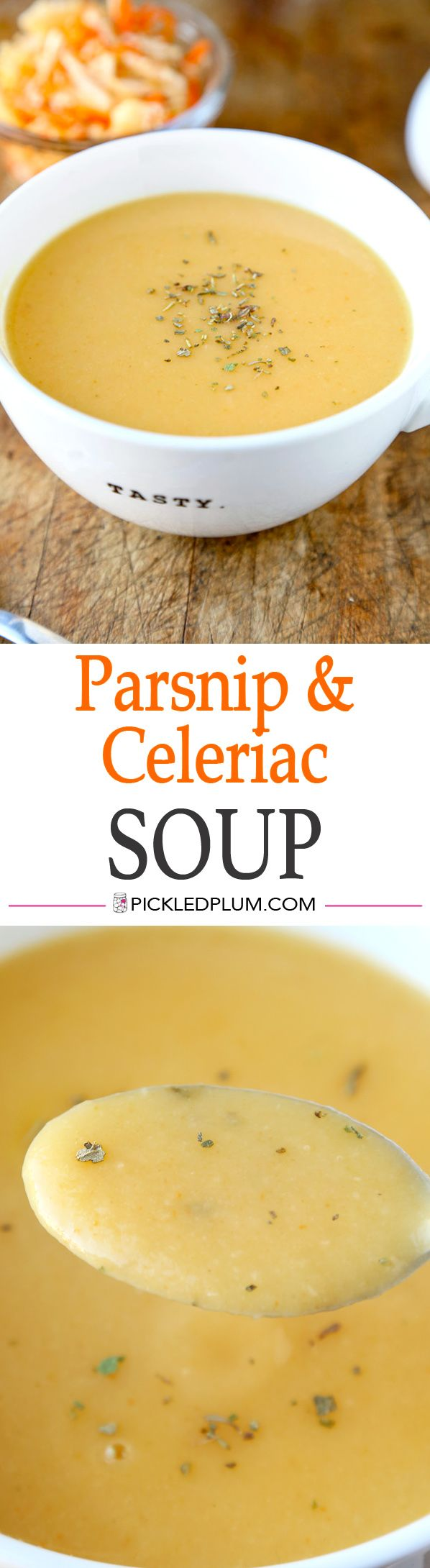 Healthy and Easy Recipe for Parsnip and Celeriac Soup with Herbes de Provence. Yummy! http://www.pickledplum.com/parsnip-soup-healthy-recipe/
