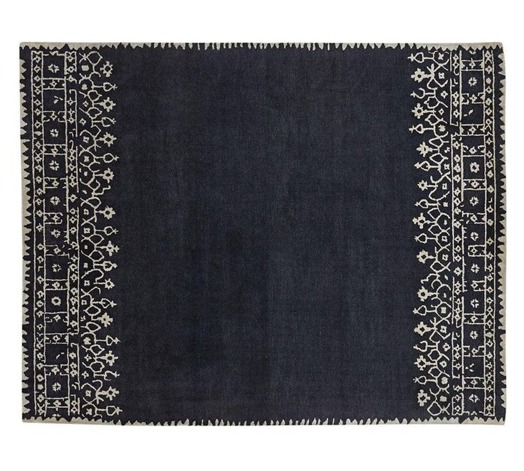 Desa Bordered Wool Rug, Indigo Blue