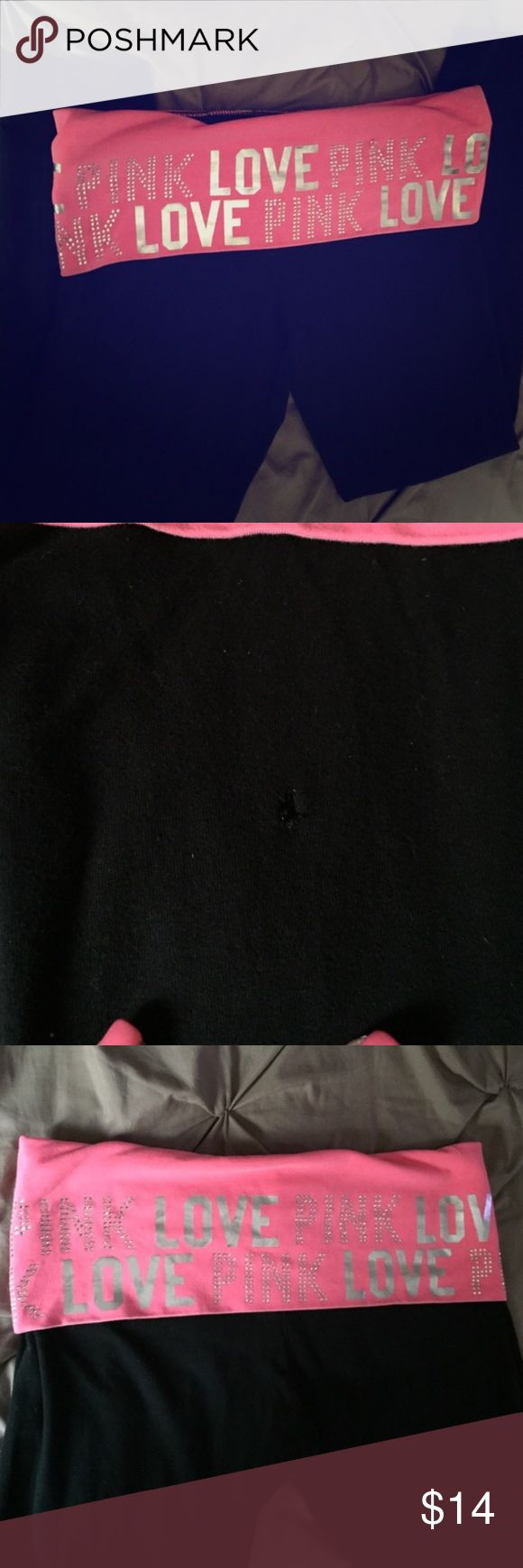 """Rare """"LOVE PINK"""" leggings Gorgeous pair of leggings, not sold in stores anymore, bright pink with silver """"love pink"""" written all over the top of the leggings, they are a size large, as seen in the photo there is a very small hole located on the back (I'm sure it can be sewed) PINK Victoria's Secret Pants Leggings"""