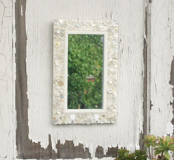 White button Mirror with hooks by Lynettes Art on Etsy