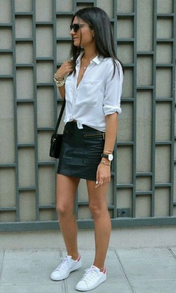 Look: Camisa Branca + Minissaia