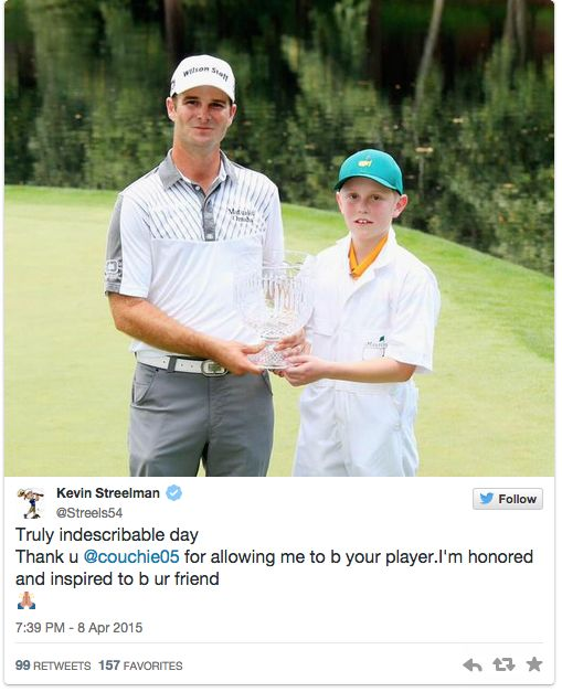 Kevin Streelman made a golf fan's wish come true ... and they won the Masters Par-3contest! http://www.sbnation.com/lookit/2015/4/8/8370193/kevin-streelman-caddy-par-3-masters-make-a-wish-ethan-couch…