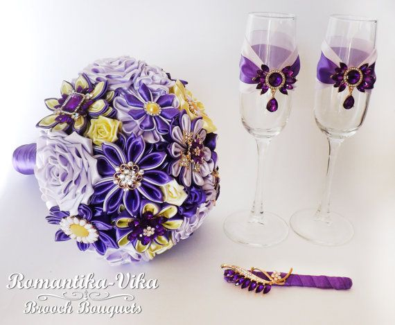 SALE Purple brooch bouquet glasses boutonniere от RomantikaVika