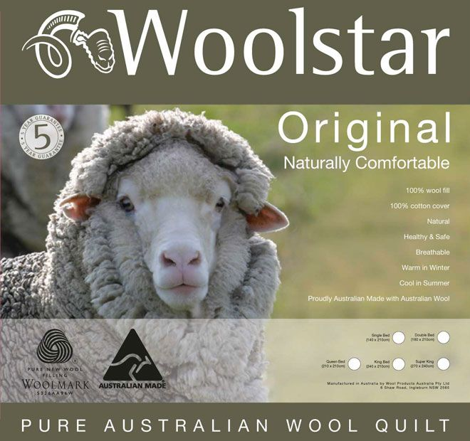 Original Wool WOOLSTAR  Features: Australian wool fill 350GSM 100% soft cotton japara cover Zig zag quilting pattern Five year guarantee Dry clean only - #quilts