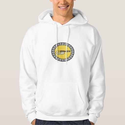 Caliper Ball Bearing Circle Retro Hooded Pullover. Illustration of a caliper tool set inside ball bearing circle on isolated background done in retro style. #Illustration #CaliperBallBearing