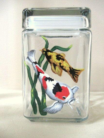 Koi Fish Pond Fish Food Jar Fish Food Canister Hand by petzoup, $35.75