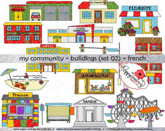 My Community Buildings Set 02  in FRENCH Clipart: (300 dpi transparent png) Teacher Clip Art Creative Writing Roller Coaster Florist Bakery