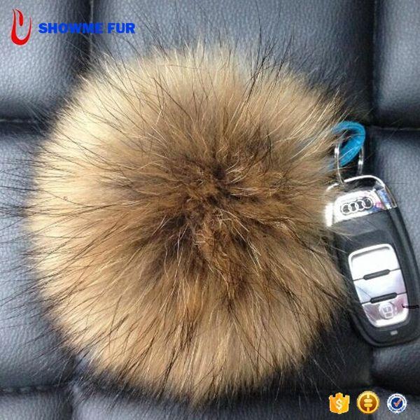 New Round Style Large Size Raccoon Fur Pom Pom Soft Keychain
