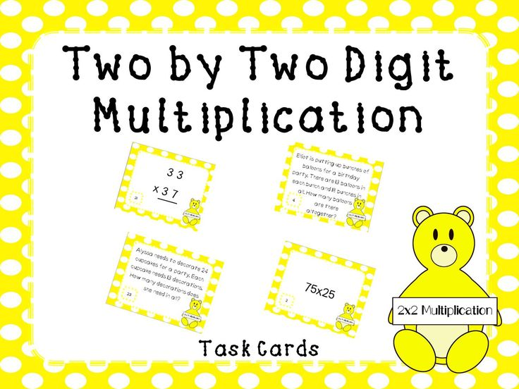 32 common core aligned, two digit by two digit multiplication task cards that can be used for centers, fast finishers, or test review.   This packet includes: -32 task cards -answer key  This product can also be found in the Growing Multi-Digit Multiplication Unit Bundle