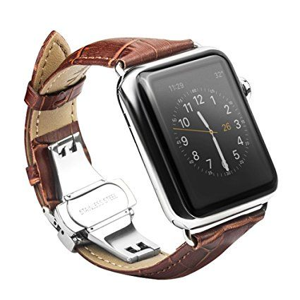 Xboun Apple Watch Strap, Nike+ 42mm Band, Alligator Grain iWatch Series 1 / Series 2 Replacement Band with Classical Butterfly Push Button Deployment Buckle Strap Fits for ALL 42mm Models (Dark Brown) Review 2017