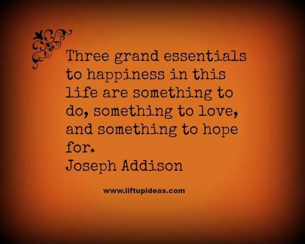 Three grand essentials to happiness in this life are something to do, something to love, and something to hope for.-Joseph Addison   http://quoteoftheday.liftupideas.com/quote-three-grand-essentials-to-happiness-in-this-life-are/