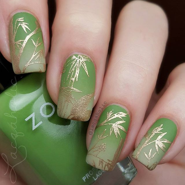 Go green stamped bamboo nails by @lacqaholic