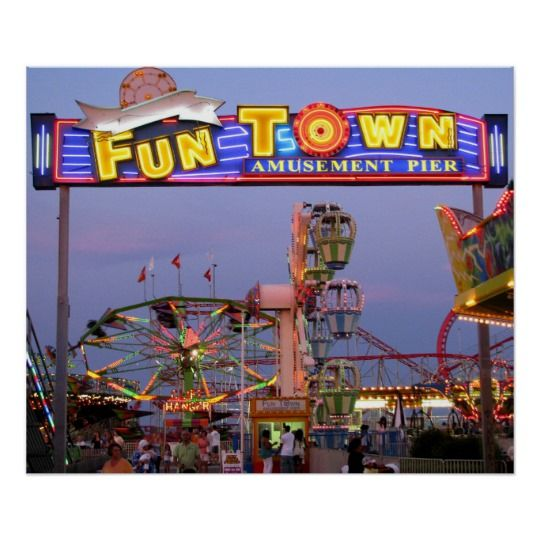 Funtown Pier In Lights Poster