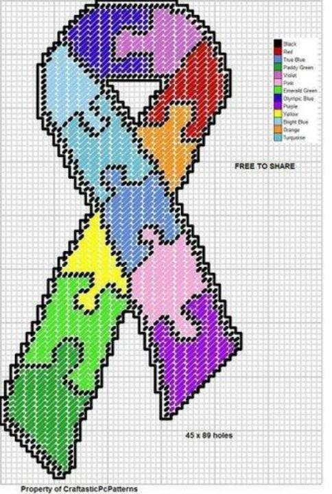 Cross-stitch Autism Ribbon