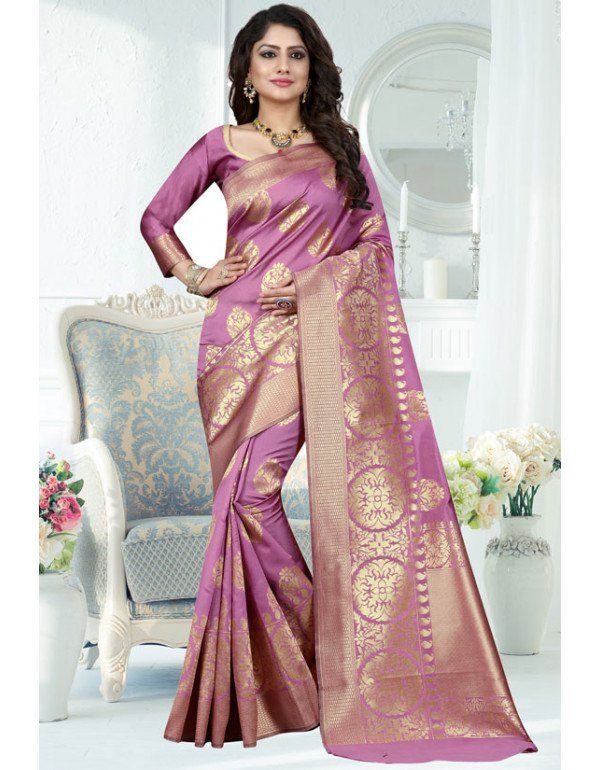 4f4317591b856a Onion Pink Banarasi Saree