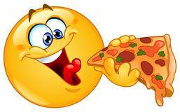 Émoticône manger de la pizza Images libres de droits