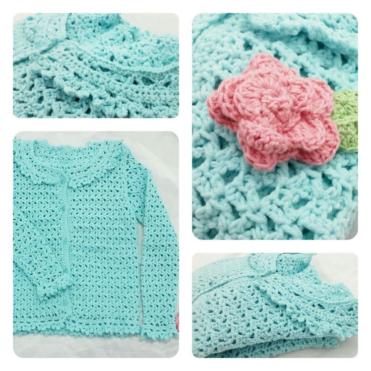 The detailed of baby cardigan in blue