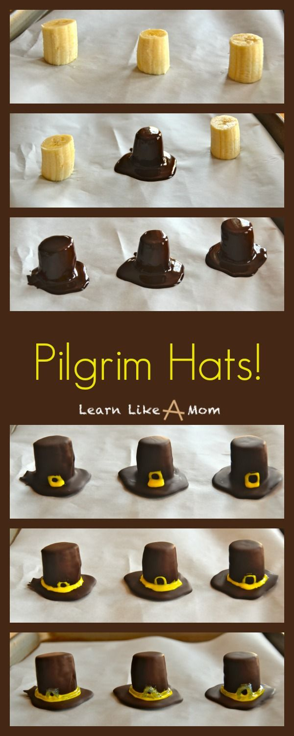 Banana and Chocolate Pilgrim Hats are a slightly nutritious option for a treat...And, boy, are they cute too!