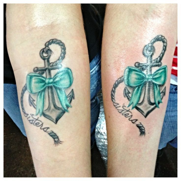 Traditional anchor tattoo for sisters