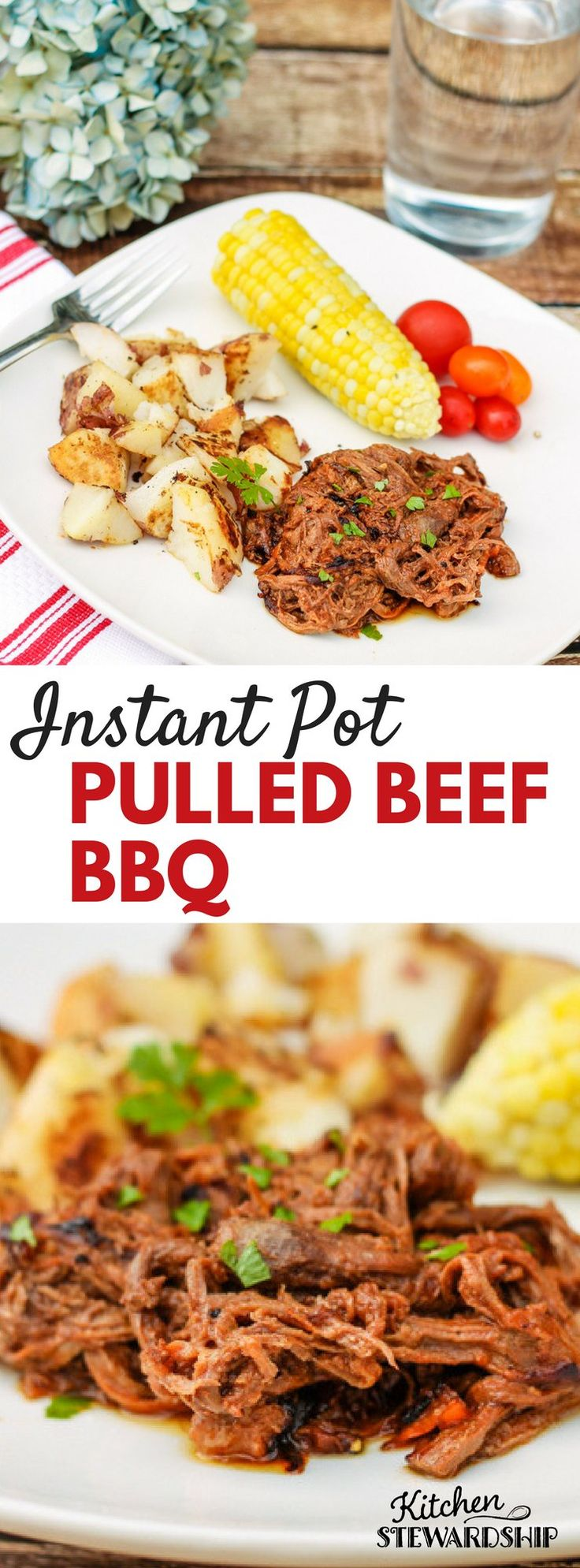 Instant Pot Pulled Beef Barbecue using a 3-pound chuck roast - fast kid-friendly dinner from an old slow cooker recipe