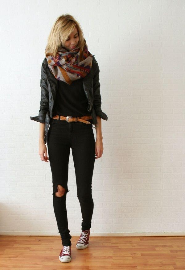 black tee + black skinnies + belt + leather jacket + patterned infinity scarf + converse