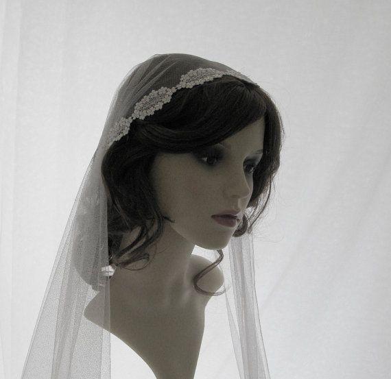 Couture bridal cap veil 1920s wedding  veil  by SarahMorganBridal, £110.00