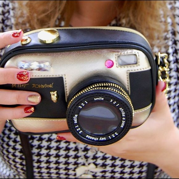 Betsey Johnson Camera Purse I get so many compliments when I rocked this purse it's so cute fits the necessities and makes a statement Betsey Johnson Bags Mini Bags