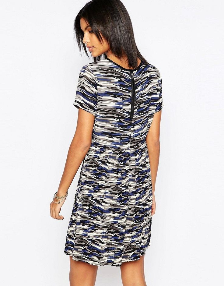Pepe Jeans Gannet Camo Dress With Pleated Skirt - Gray