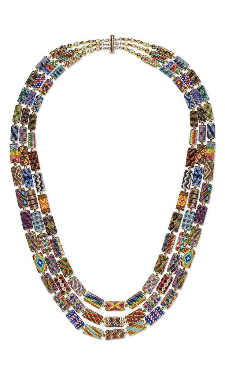 Triple-Strand Necklace with Seed Beaded Spool Beads - Gallery Of Designs - Fire Mountain Gems and Beads