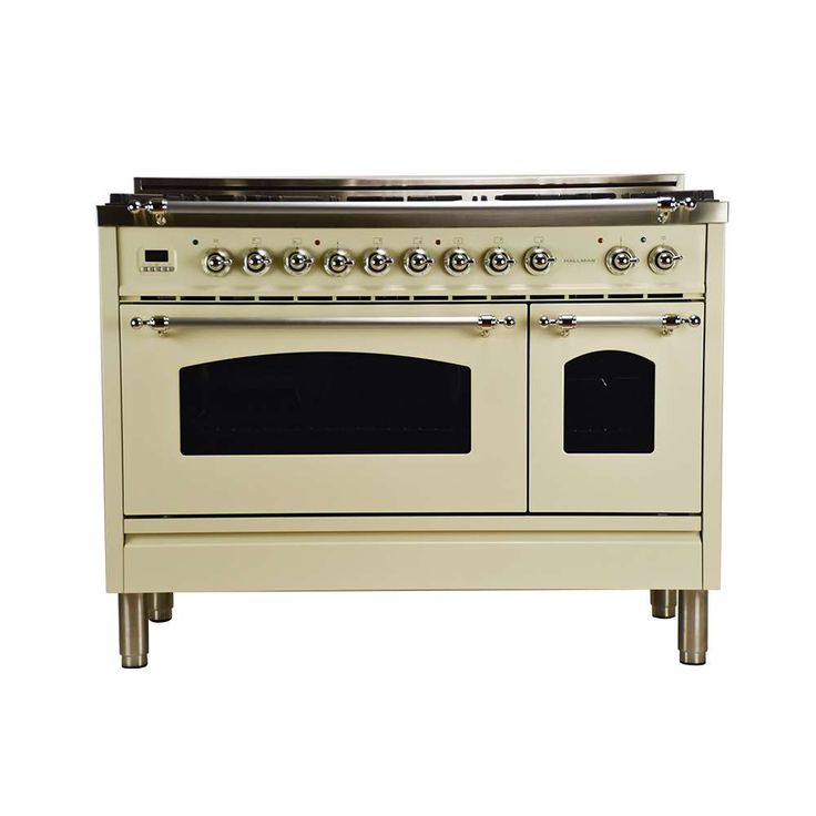 """Lowest price on Hallman HGR4802DFAW Professional 48"""" Italian Antique White Dual Fuel (Gas) Sealed Burner Double Oven Range with Griddle - Convection. Shop today!"""