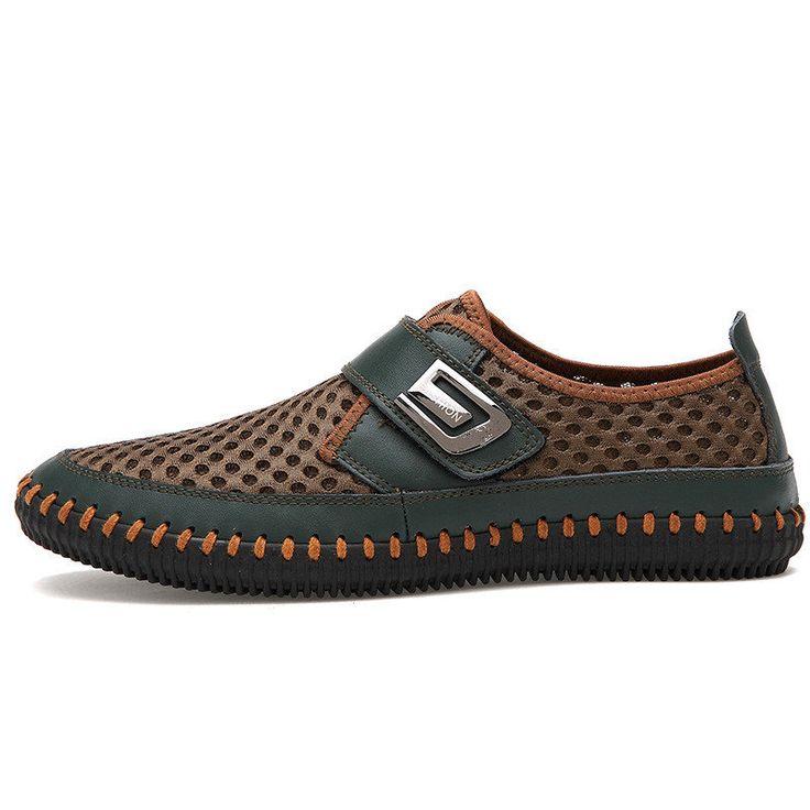Homme Hook-loop Chaussures Décontractées En Tissu De Maille Mocassins Respirants Doux Pour Extérieur