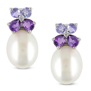 diamonds, pearls and gemstones as jewelry | Miadora Silver Pearl, Multi-gemstone and Diamond Earrings (8-8.5 mm ...